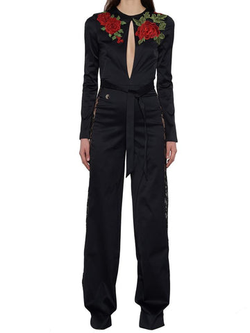 Phillip Plein Embroidered Rose Jumpsuits