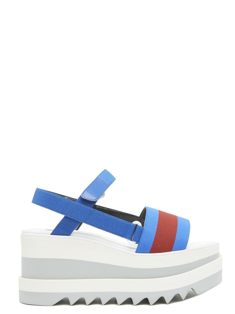 STELLA MCCARTNEY ELYSE STRIPED PLATFORM SANDALS