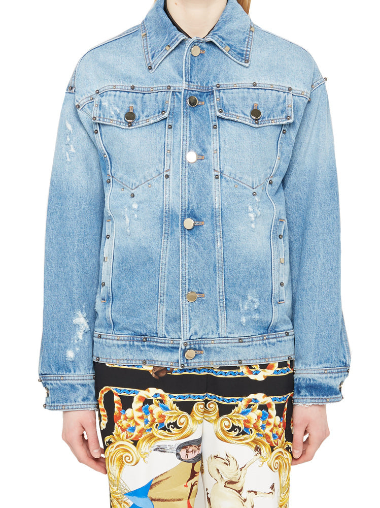 VERSACE EMBELLISHED DENIM JACKET