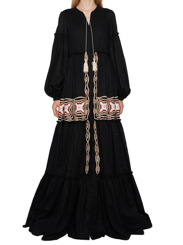 Wandering Embroidered Flared Maxi Dress