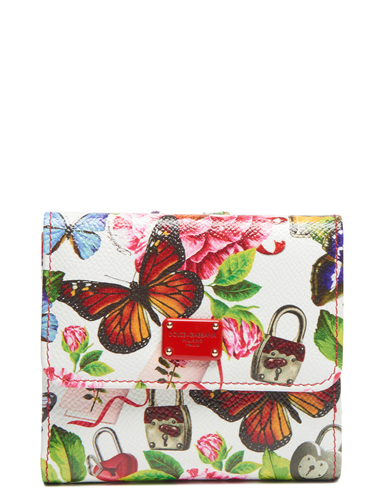 DOLCE & GABBANA FLORAL PRINTED FRENCH FLAP WALLET