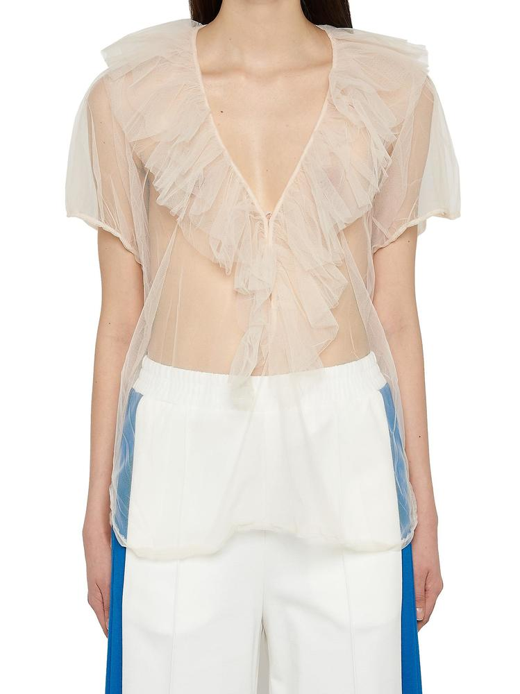 Nude NUDE TULLE V NECK TOP