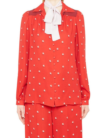 Valentino Floral Print Contrasting Neck Tie Blouse