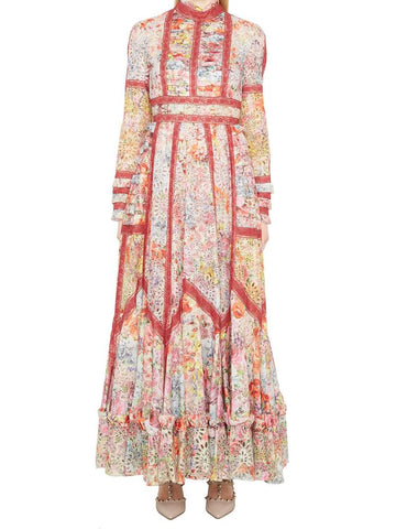 Valentino Lace Floral Print Maxi Dress