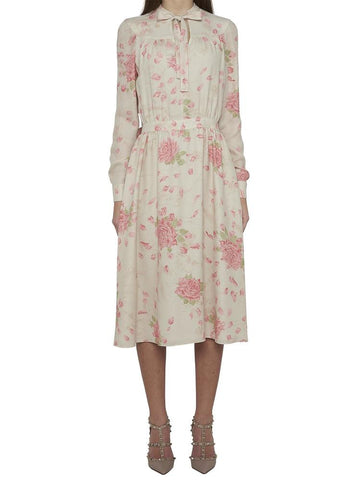 Valentino Floral Print Pussy Bow Dress