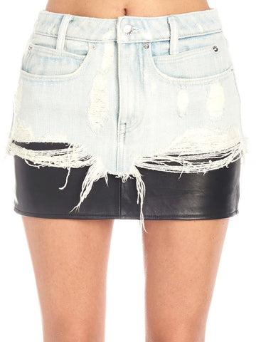 Alexander Wang Leather Insert Denim Skirt