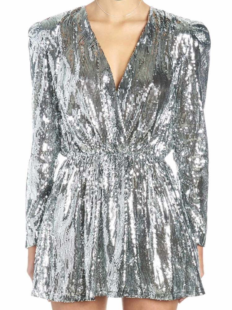 b1a3ab36a01f Amen Sequin Embellished Mini Dress In Silver | ModeSens