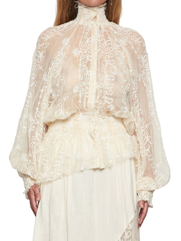 Ann Demeulemeester High Neck Lace Blouse