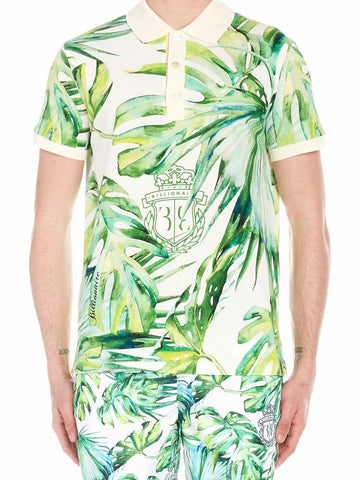 Billionaire Leaf Printed Polo Shirt