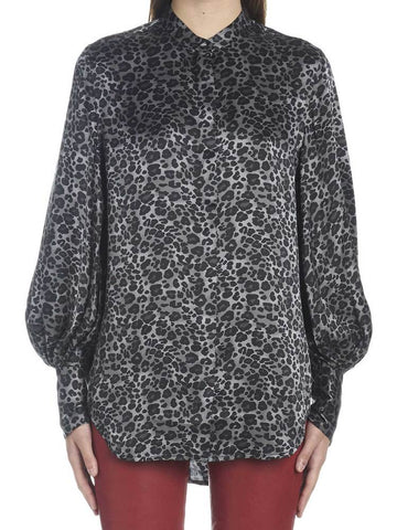 Equipment Leopard Print Balloon Sleeves Blouse