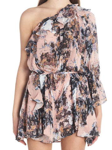IRO One-Shoulder Floral Playsuit