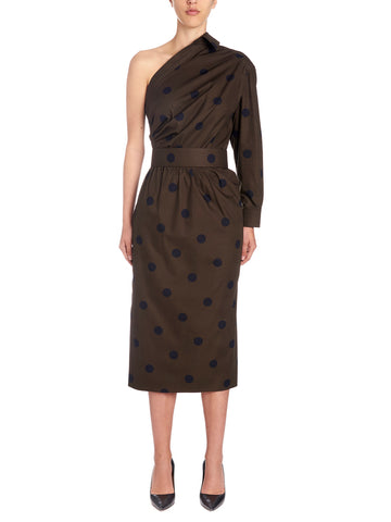 Max Mara Angolo One Shoulder Polka Dot Dress