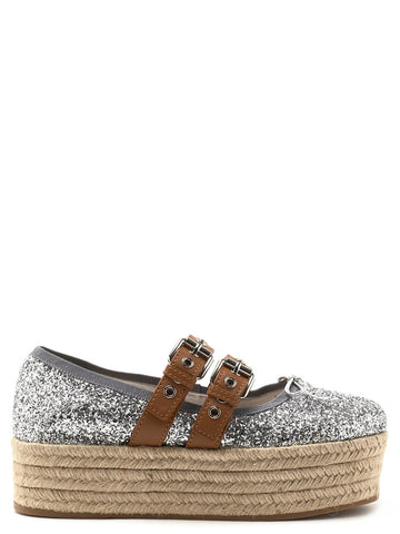 Miu Miu Glittered Platform Flat Shoes