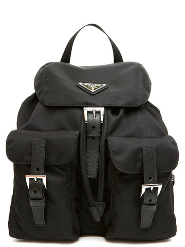 Prada Logo Saffiano Buckle Backpack