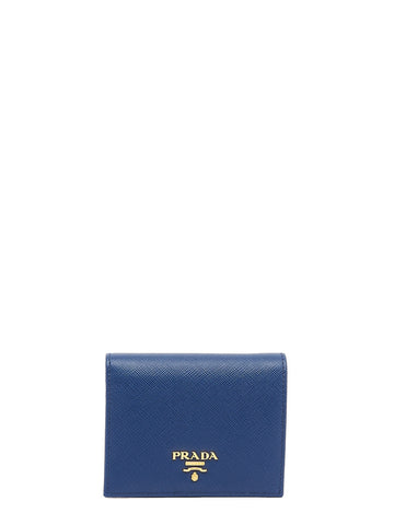Prada Logo Button Bifold Wallet