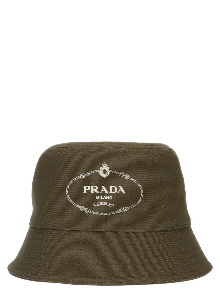 7d21bfa252db2 Prada Logo Printed Bucket Hat In Green