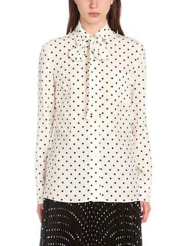 Prada Tie-Neck Patterned Blouse
