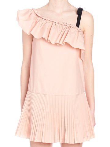 Red Valentino One-Shoulder Frill Dress