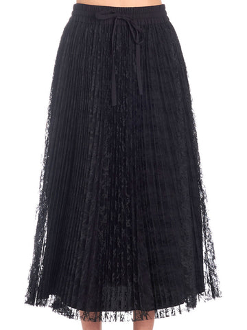 Red Valentino Pleated Lace Skirt