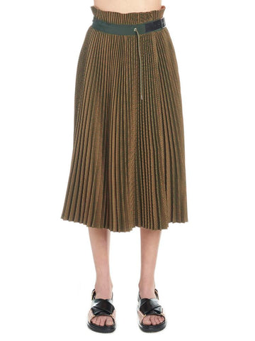 Sacai Belted Pleated Midi Skirt