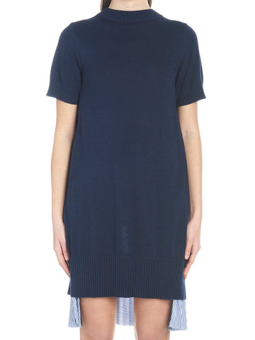 Sacai Contrast Material Pleated Dress