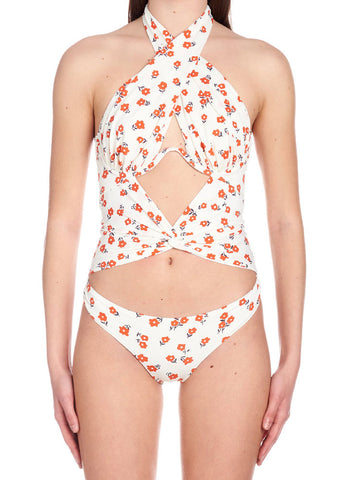 Self-Portrait Floral Cut-Out Swimsuit
