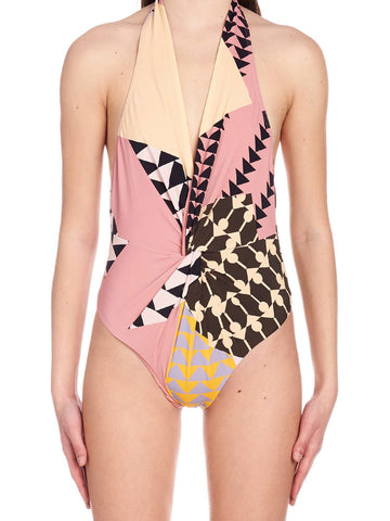Self-Portrait Mixed Print One-Piece Swimsuit