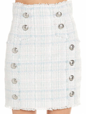 Balmain Buttoned Tweed Mini Skirt