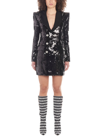 Balmain Hooded Sequin Dress