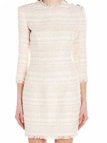 Balmain Long Sleeve Tweed Mini Dress