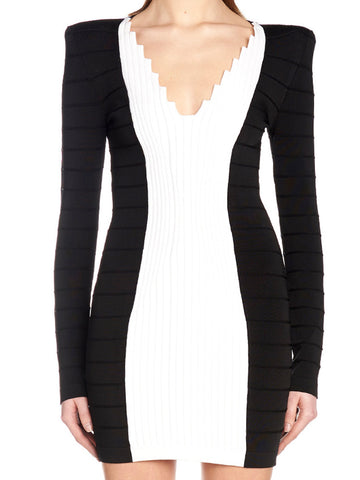 Balmain Textured Contrast Mini Dress