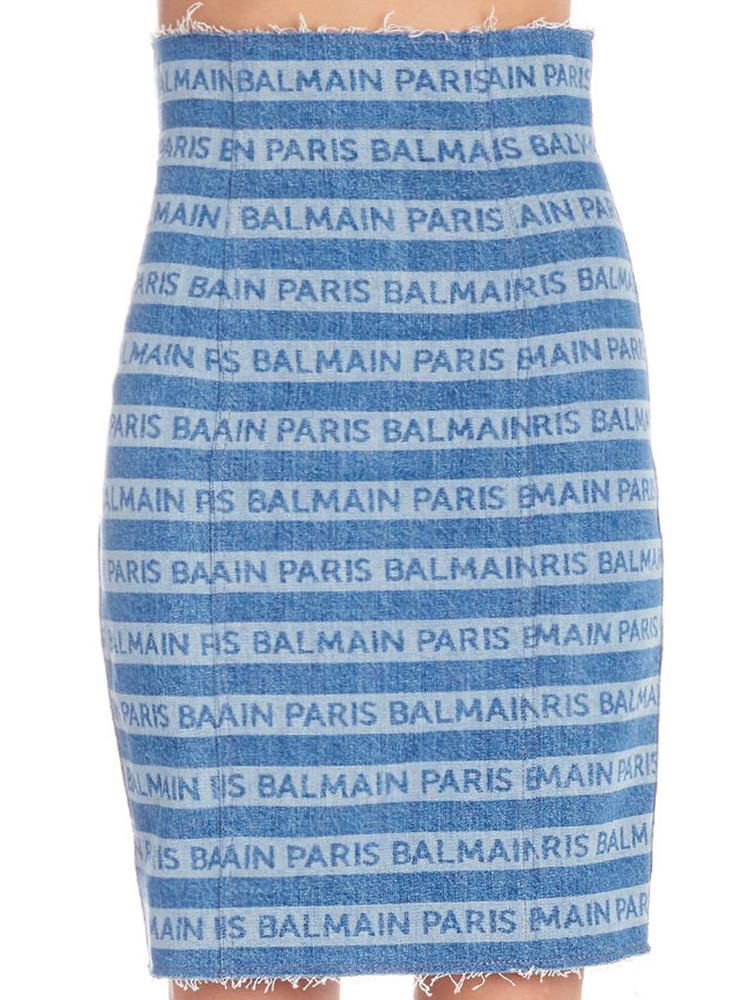Balmain All Over Logo Pencil Skirt