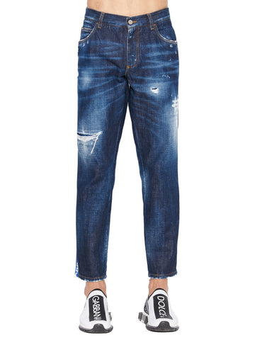 Dolce & Gabbana Distressed Logo Band Jeans