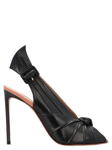 Francesco Russo Pleated Knot Slingback Pumps