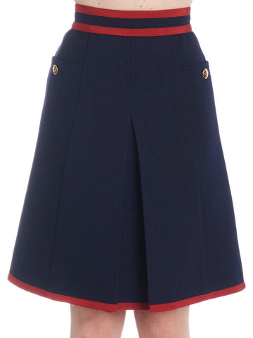 Gucci Wed Detail Pleated Skirt