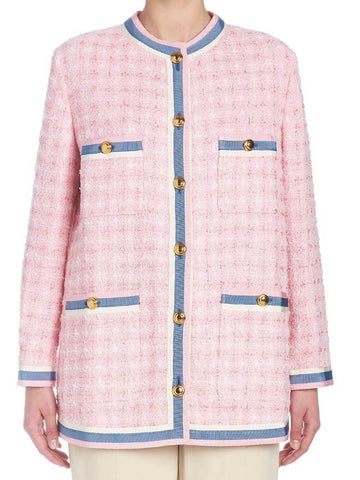 Gucci Contrast Trim Tweed Jacket