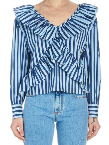 Msgm Striped Ruffled Top