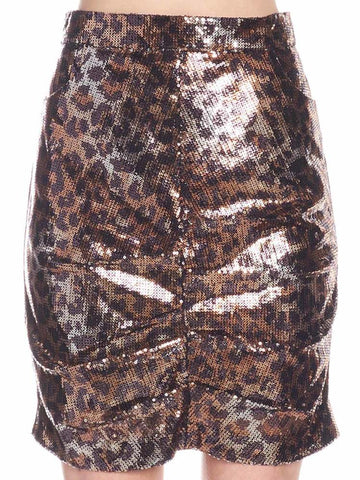 Msgm Sequinned Leopard Mini Skirt