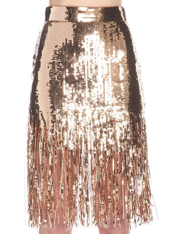 MSGM Sequin Fringed Skirt