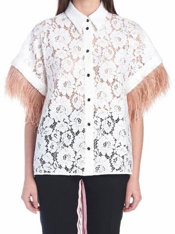 N°21 Fringed Sleeves Lace Blouse