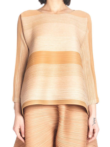 Pleats Please By Issey Miyake Striped Long Sleeve Top