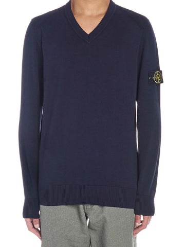 Stone Island V-Neck Logo Sweater