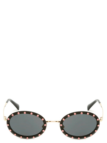 Valentino Swarovski Oval Shaped Sunglasses