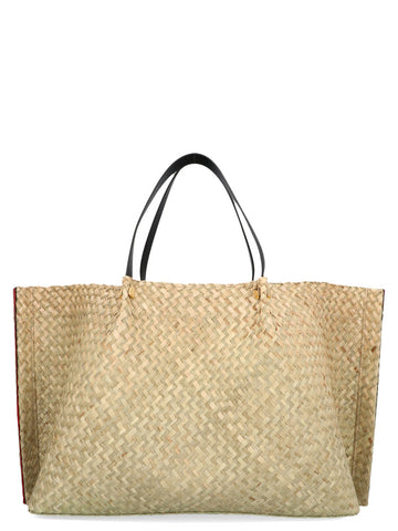 Valentino Large Go Logo Escape Straw Shopper Bag