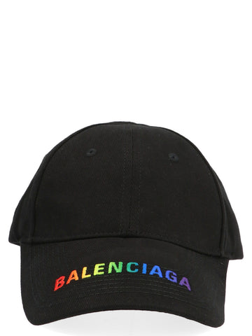 Balenciaga Rainbow Logo Embroidered Baseball Cap