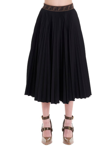 Fendi FF Jacquard Pleated Midi Skirt