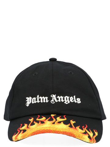 Palm Angels Flames Logo Embroidered Cap