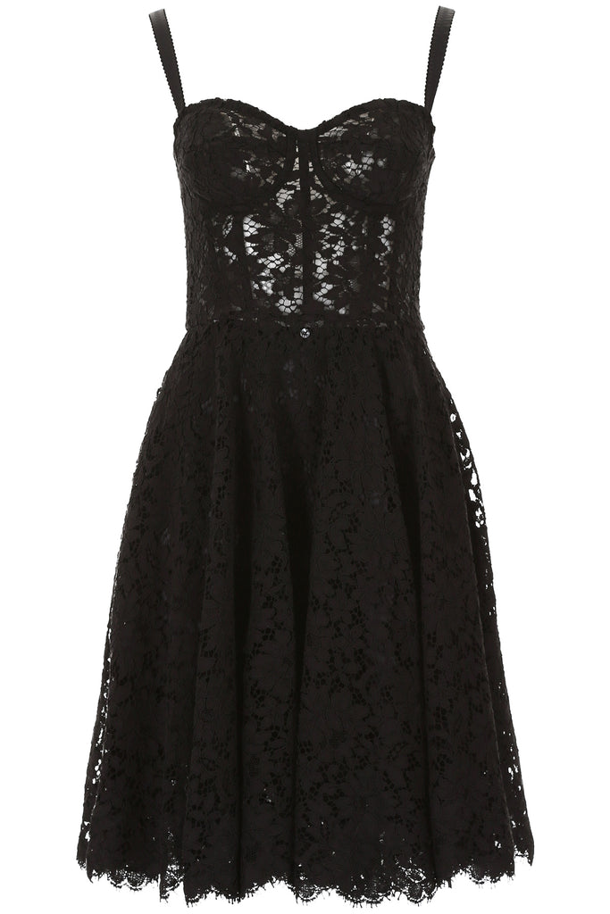 bf6d92aea31d09 Dolce   Gabbana Fitted Bodice Lace Dress – Cettire