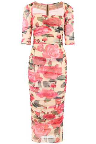 Dolce & Gabbana Rose-Print Midi Dress