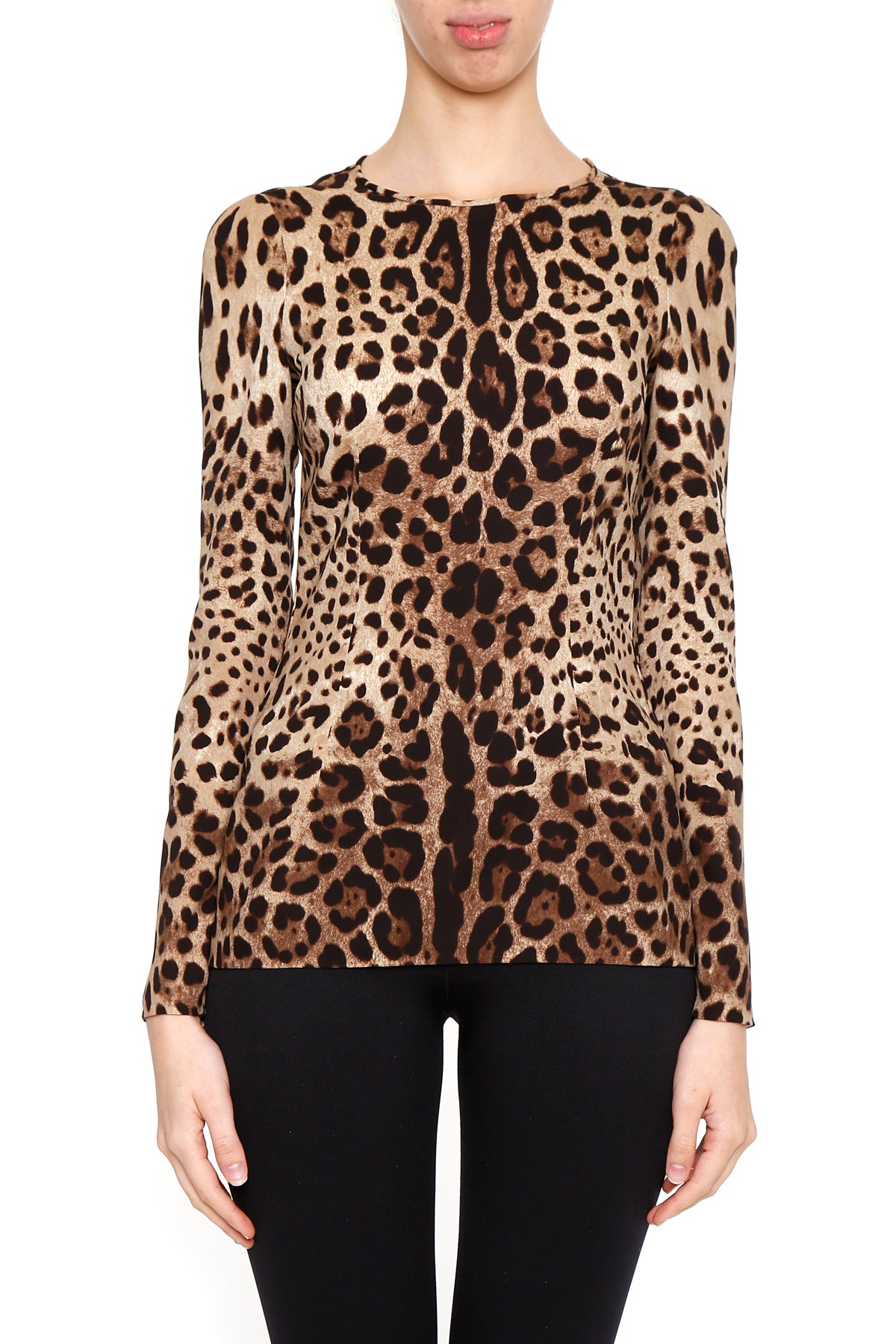 DOLCE & GABBANA FLARED LEOPARD STRETCH TOP